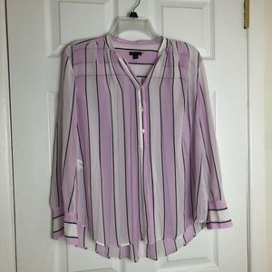 Ann Taylor Pink and White Popover Blouse